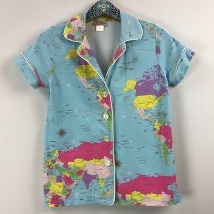 BedHead Aqua Around the World Shorty Pajama Top S